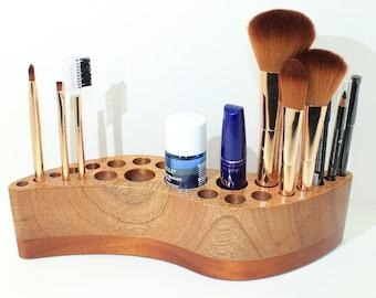 Makeup Holder - Exotic Wood - Mahogany - Makeup Organizer - Counter Clockwise Curved Shape - Makeup Display