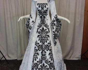 Gothic wedding dress, handfasting gown, white and black dress, prom gown, renaissance gown, medieval hooded dress, bridesmaid