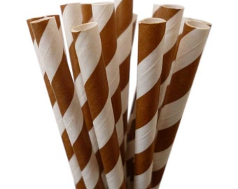 "LONG DRINKING STRAWS | 10.5"" Brown Stripe Paper Straws | Browan Drinking Straws | Tall Water Bottle Straws | Soda Bottles | Long Drink Straw"