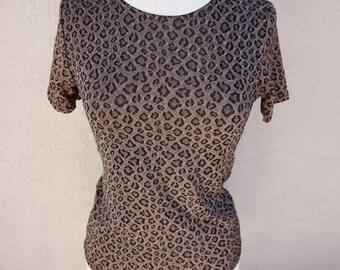 90's Animal Print Top, Cheetah Blouse, Short Sleeve Tshirt, 90's Grunge, Slinky Brown Top, Leopard Top