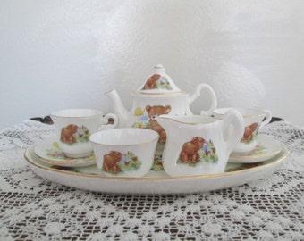 Teddy Bear Miniature Tea Set/Teddy Bear Picnic/Sheltonian China/English Bone China # 17017