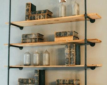 Open Pipe Shelving   Industrial Pipe Shelf   Pipe Shelf   Industrial Bookshelves   Storage Shelf   Wall Storage   Wall Mounted Shelf