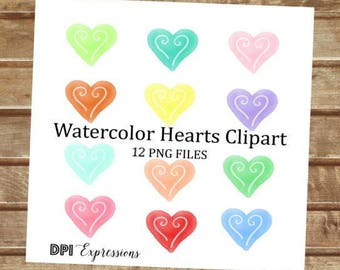 12 Watercolor Hearts Clipart, Hand Painted Whimsical Hearts, Transparent Background Hearts Clip Art, INSTANT DOWNLOAD