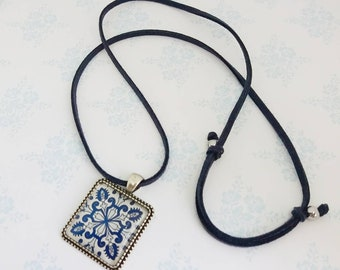 Necklace with Tile Pendant - Lovely gift - Dark Blue
