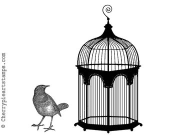 Vintage CAGE and BIRD -set of 2 CLiNG RuBBer Stamps R587