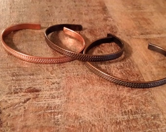 Patterned Copper Cuff or Bangle Bracelet Hand Finished in Natural, Medium, or Dark Antique Tone