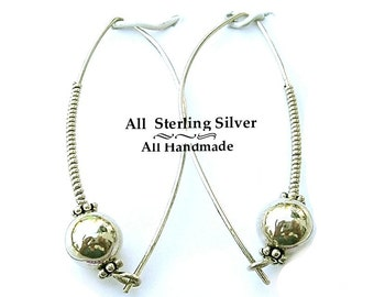 All Sterling Silver Earrings, Long Silver Earrings, Modern Silver Earrings E0910-04E