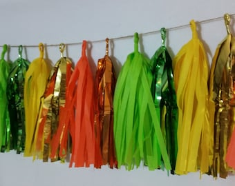 20 Tassel Neon Tissue Paper Garland, Wedding Party Decorations, Streamers, Pom Pom Garland, Fringe, Birthday Party Garland, Poms, Neon Party