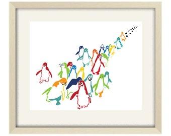 kids bathroom art, bathroom decor, nursery decor, penguin print, nursery wall art, colorful art print, modern nursery decor, abstract art