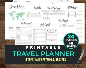 Travel Planner, Trip Planner, Vacation Planning - Packing List, Travel Journal, Expense Tracker, Trip Itinerary, A5, A4, Letter, Printable