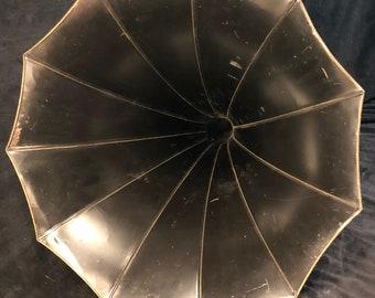 Thomas Edison Standard Horn, 11 panel, Tulip, Morning Glory, Gramophone, Cylinder Phonograph Black