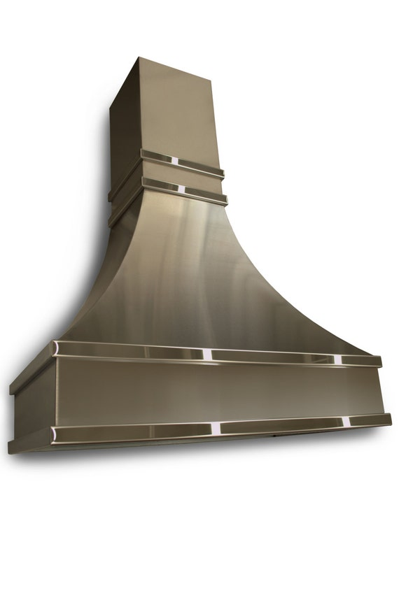stainless steel range hood with polished stainless steel bands. Black Bedroom Furniture Sets. Home Design Ideas