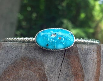 White Water Turquoise Cuff - Cuff Bracelet - Turquoise Cuff Bracelet - White Water Turquoise - Sterling Silver - One of a Kind - OOAK - Blue