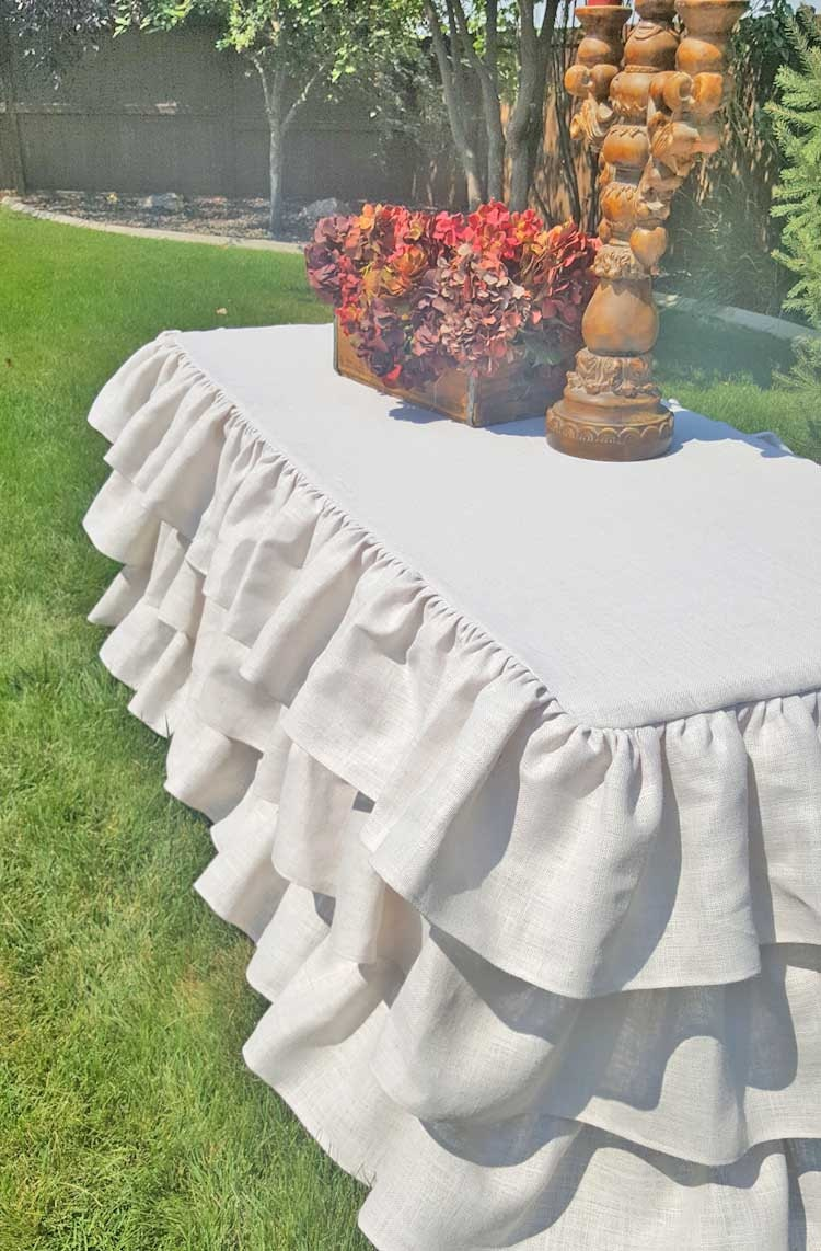 Burlap Ruffled Tablecloth White Ruffle Tablecloth Country Wedding Bridal  Shower Decor Rustic Shabby Chic Vintage