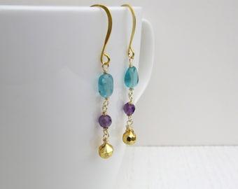 Multi gemstone earrings, Multicolor earrings, Gold pyrite earrings