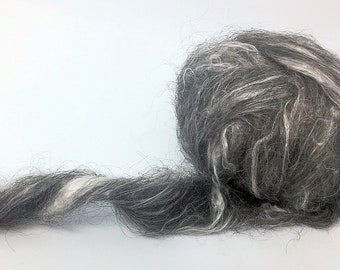 Black Silk - Beautiful Blend - Spinning Carded Roving Felting Top - Wool and Mulberry Silk- 1 oz