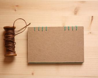 Green Notebook, Coptic binding, notes, hand-made book