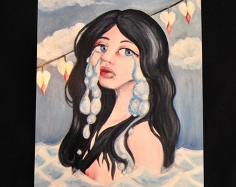"""Signed Art Prints- """"Don't Leave Me Drowning in My Tears"""" 5x7 inches Surreal Fantasy Lowbrow Art"""