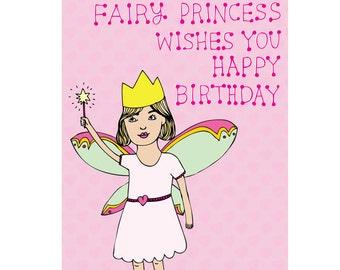 Children's Birthday Card - Fairy Princess Wishes You Happy Birthday