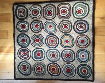 Antique Circles hooked rug