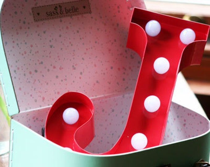 Vintage Carnival Style Marquee Light, Light up Letter J - Battery Operated