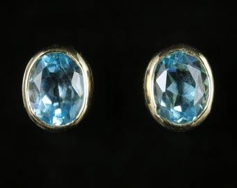 Blue Topaz Earrings 9ct Yellow Gold