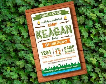 PDF - Let's go to Camp! Camping Themed Party Invitations