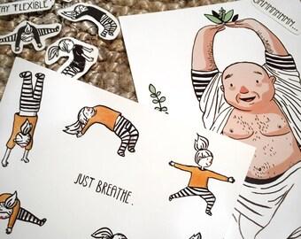 The yoga bundle-art print, postcard and sticker