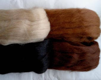 Alpaca wool roving, roving wool, alpaca roving, dolls hair, alpaca spinning fiber, wool hair, alpaca hair, brown hair, black hair,100g,3.5oz
