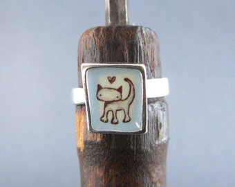 Cat Ring - Sterling Silver and Vitreous Enamel Cat Ring