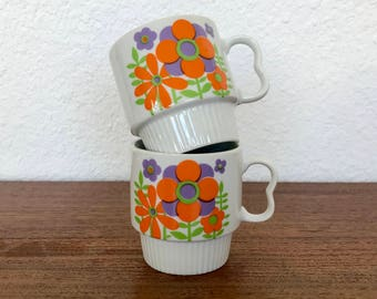 Stylecraft Stacking Two-Finger Ceramic Floral Mugs Made In Japan
