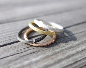 slim twig ring. silver, gold plated, rose gold plated or blackened. recycled silver. sustainable.