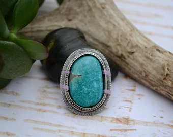 SALE: WAS 169- Compass Mine Turquoise Custom Cocktail Ring or Pendant