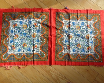 Retro Boho Chic Pillow Pattern on bright colored cotton fabric in Very Good Condition, Make one (1) or two (2) pillows with this piece