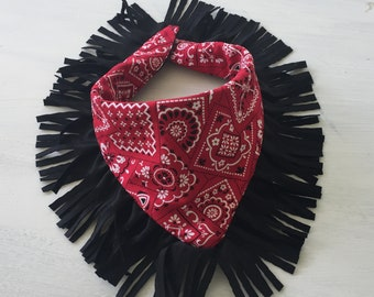 Boys Bandana-Print Bib with Fringe