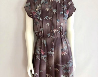 Vintage Women's 80's Purple, Pleated Dress, Fully Lined, Knee Length (M)
