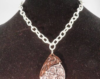 17 inch length  2 tone raised flower design necklace, Silver tone, Bronze, Silver Plated chain, Minimal, Nature