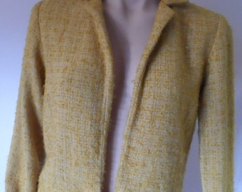 TOWN CRAFT Boucle mustard gold waist Jacket Size SSW see measurements