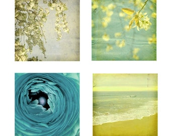 Blue and Yellow Wall Decor Nature Photography Ocean Art Landscape and Still Life Flower Set of Four 5x5 inch Photography Prints Blue Vintag