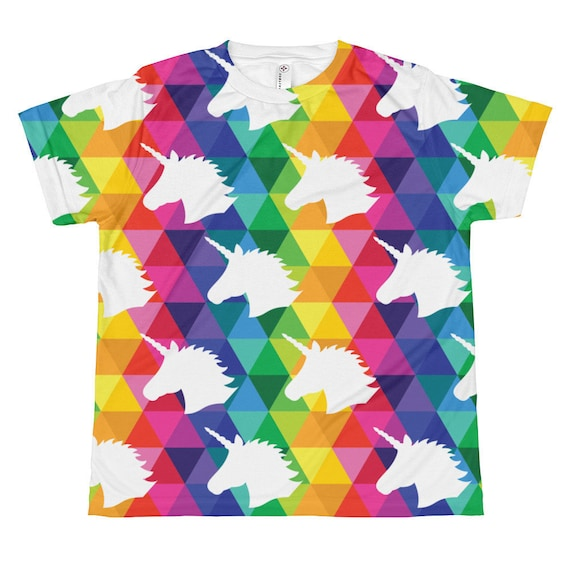 Youth Unicorn T-shirt All-over Youth Sublimation Tee for Kids Colorful Graphic T