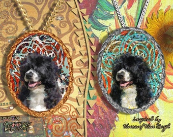 Portuguese Water Dog Jewelry Pendant - Brooch Handcrafted Porcelain by Nobility Dogs - Gustav Klimt and Van Gogh