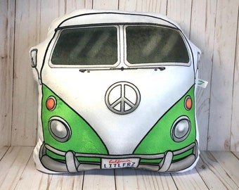 Volkswagen Plush Pillow, VW Camper Van, Hippie Bus, VW Lover Gifts, Classic Car Gifts, VW Home Decor, Camping Lover Gift, Car Toy Pillow