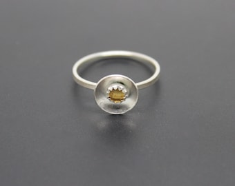 Citrine Ring, Rose Cut Gemstone Ring, November Birthstone Ring, Sterling Silver Ring, Yellow Quartz Ring, Halo Ring, Barely There Ring