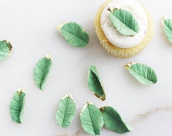 Fondant Leaves, Cupcake Toppers, Sugar Leaves, Edible Sugar Leaves, Gold edible  Leaves, Wedding Toppers