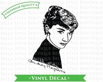 Audrey Hepburn Portrait and Signature VINYL DECAL