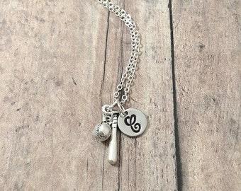 Baseball & bat initial necklace - baseball jewelry, baseball mom necklace, sports necklace, silver baseball pendant, gift for baseball mom