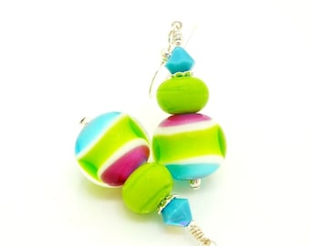 Green Pink Blue Earrings, Bright Earrings, Lampwork Earrings, Glass Bead Earrings, Colorful Earrings, Bead Earrings, Neon Earrings