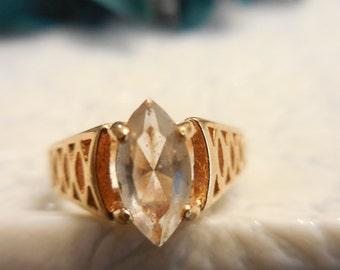 Ring, Rhinestone Ring, Gold tone Rhinestone Ring, Filigree Gold tone ring, Avon ring, Ring size 7, Vintage