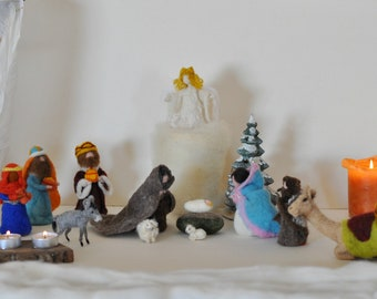 Needle felted nativity. Felted nativity.Nativity set 12 pc. Made to order