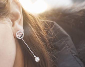 Star earring, dangle earring, korean style, pearl earring, birthday gift, back to school, bridal earring